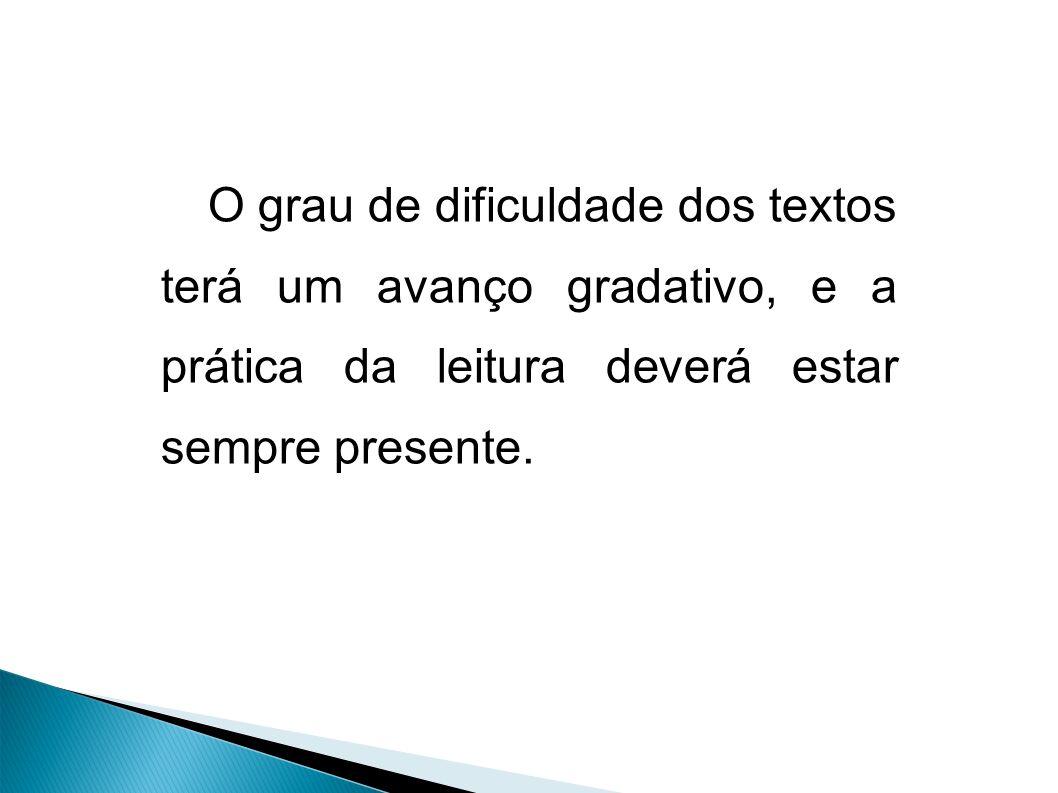 O grau de dificuldade dos textos terá um avanço gradativo, e a prática da leitura deverá estar sempre presente.