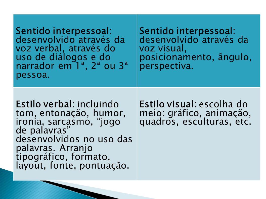 Sentido interpessoal: desenvolvido através da voz verbal, através do uso de diálogos e do narrador em 1ª, 2ª ou 3ª pessoa.