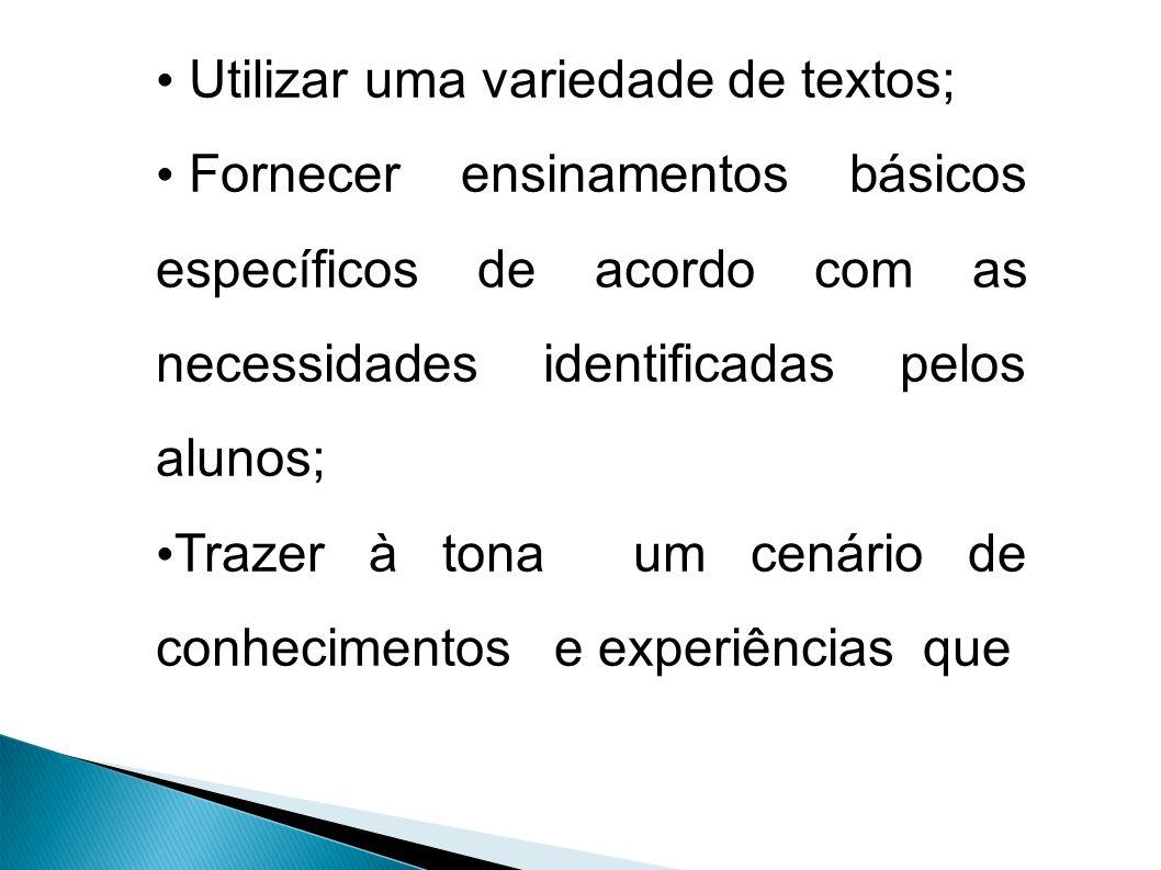Utilizar uma variedade de textos; Fornecer ensinamentos básicos específicos de acordo com as necessidades identificadas pelos alunos; Trazer à tona um cenário de conhecimentos e experiências que