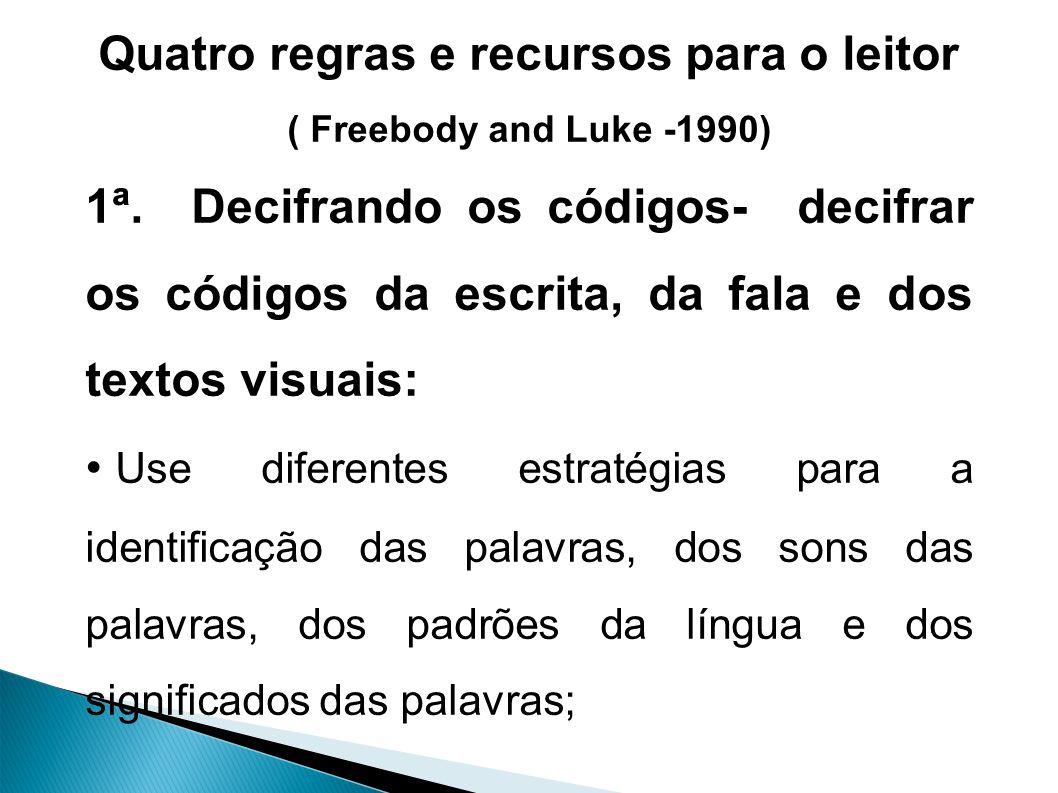 Quatro regras e recursos para o leitor ( Freebody and Luke -1990) 1ª.