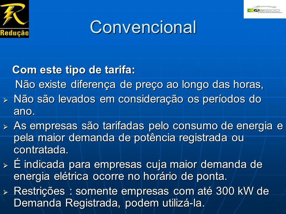 Convencional Com este tipo de tarifa: Com este tipo de tarifa: Não existe diferença de preço ao longo das horas, Não existe diferença de preço ao long