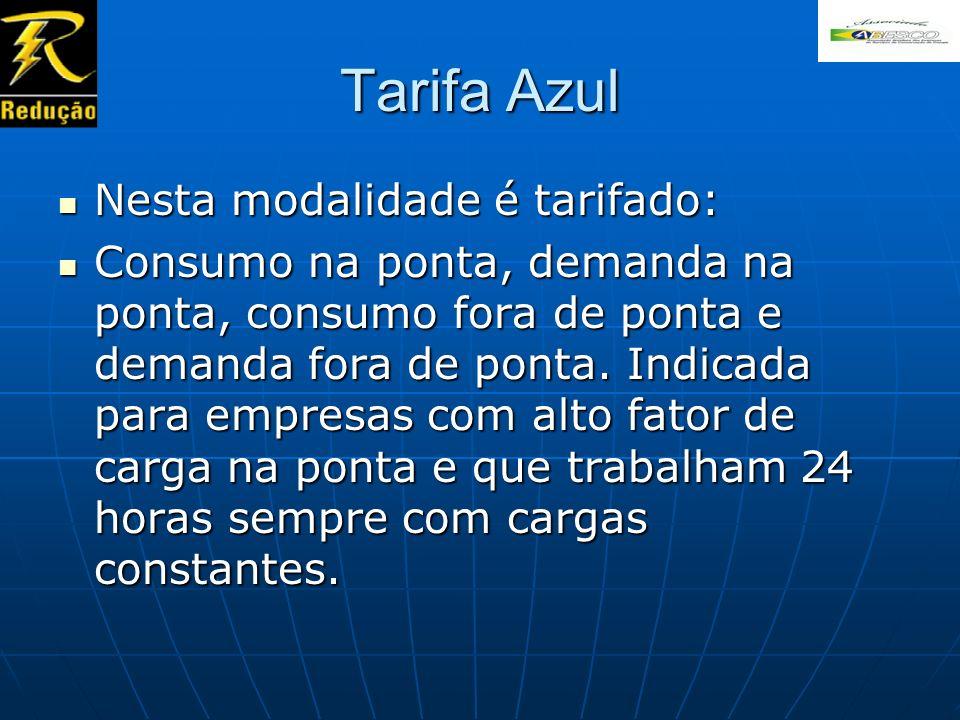 Tarifa Azul Nesta modalidade é tarifado: Nesta modalidade é tarifado: Consumo na ponta, demanda na ponta, consumo fora de ponta e demanda fora de pont
