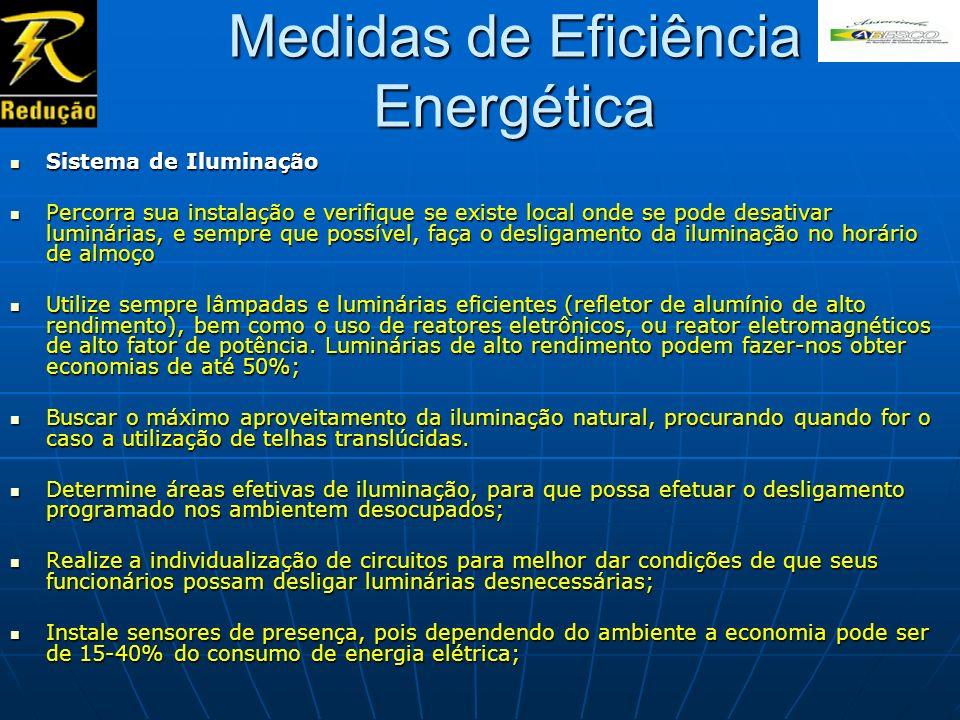 Medidas de Eficiência Energética Sistema de Iluminação Sistema de Iluminação Percorra sua instalação e verifique se existe local onde se pode desativa