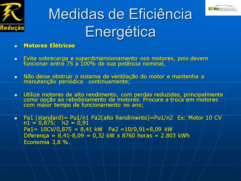 Medidas de Eficiência Energética Motores Elétricos Motores Elétricos Evite sobrecarga e superdimensionamento nos motores, pois devem funcionar entre 7