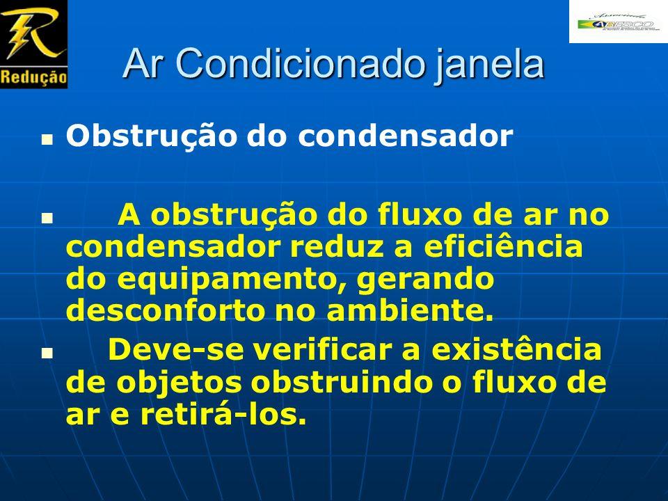 Ar Condicionado janela Obstrução do condensador A obstrução do fluxo de ar no condensador reduz a eficiência do equipamento, gerando desconforto no am