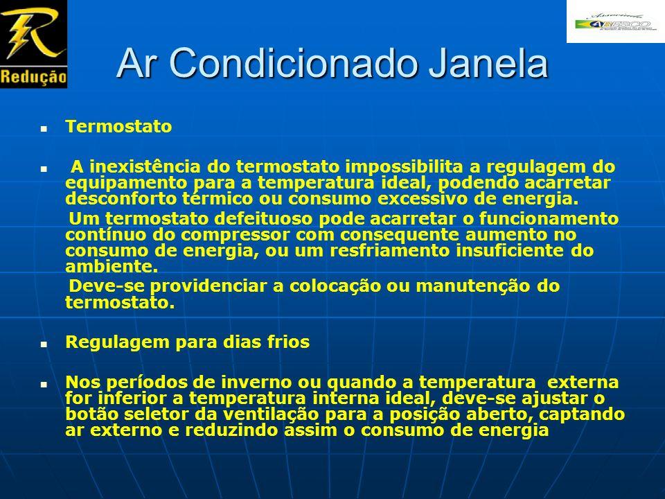 Ar Condicionado Janela Termostato A inexistência do termostato impossibilita a regulagem do equipamento para a temperatura ideal, podendo acarretar de