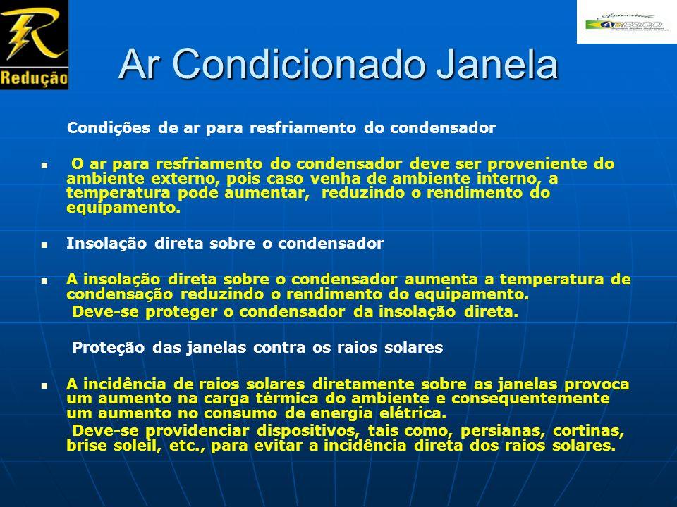 Ar Condicionado Janela Condições de ar para resfriamento do condensador O ar para resfriamento do condensador deve ser proveniente do ambiente externo
