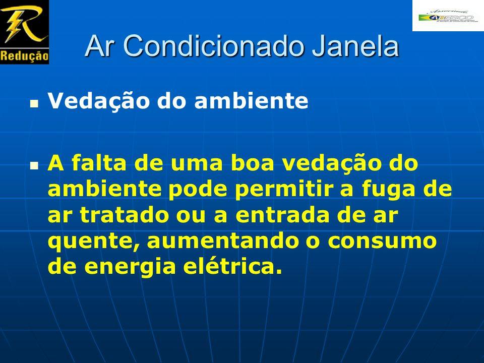 Ar Condicionado Janela Vedação do ambiente A falta de uma boa vedação do ambiente pode permitir a fuga de ar tratado ou a entrada de ar quente, aument
