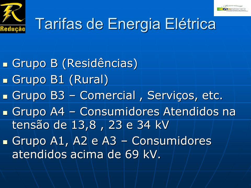 Tarifas de Energia Elétrica Grupo B (Residências) Grupo B (Residências) Grupo B1 (Rural) Grupo B1 (Rural) Grupo B3 – Comercial, Serviços, etc. Grupo B