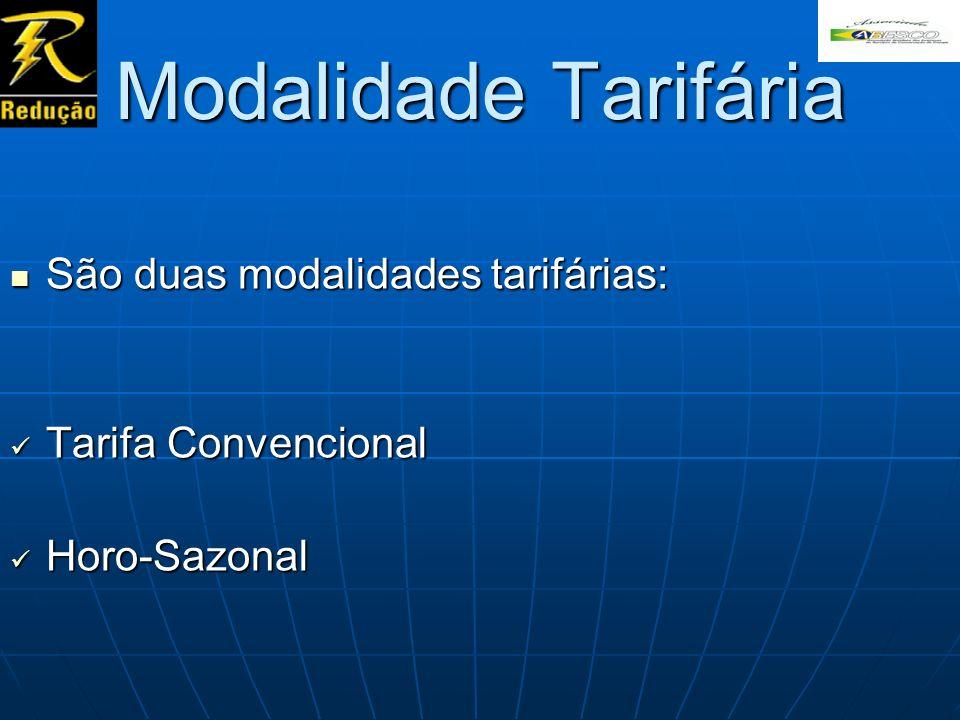 Modalidade Tarifária São duas modalidades tarifárias: São duas modalidades tarifárias: Tarifa Convencional Tarifa Convencional Horo-Sazonal Horo-Sazon