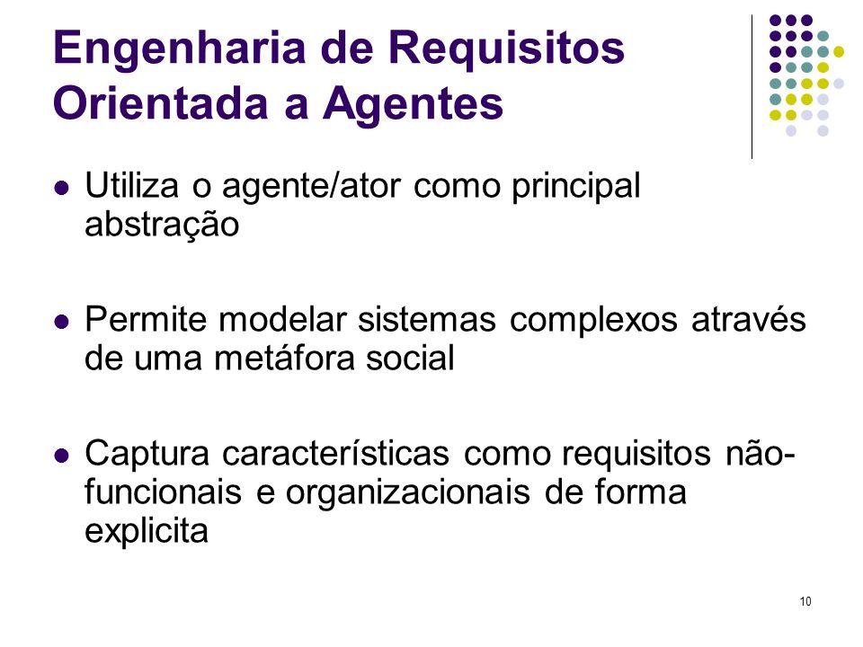 10 Engenharia de Requisitos Orientada a Agentes Utiliza o agente/ator como principal abstração Permite modelar sistemas complexos através de uma metáfora social Captura características como requisitos não- funcionais e organizacionais de forma explicita