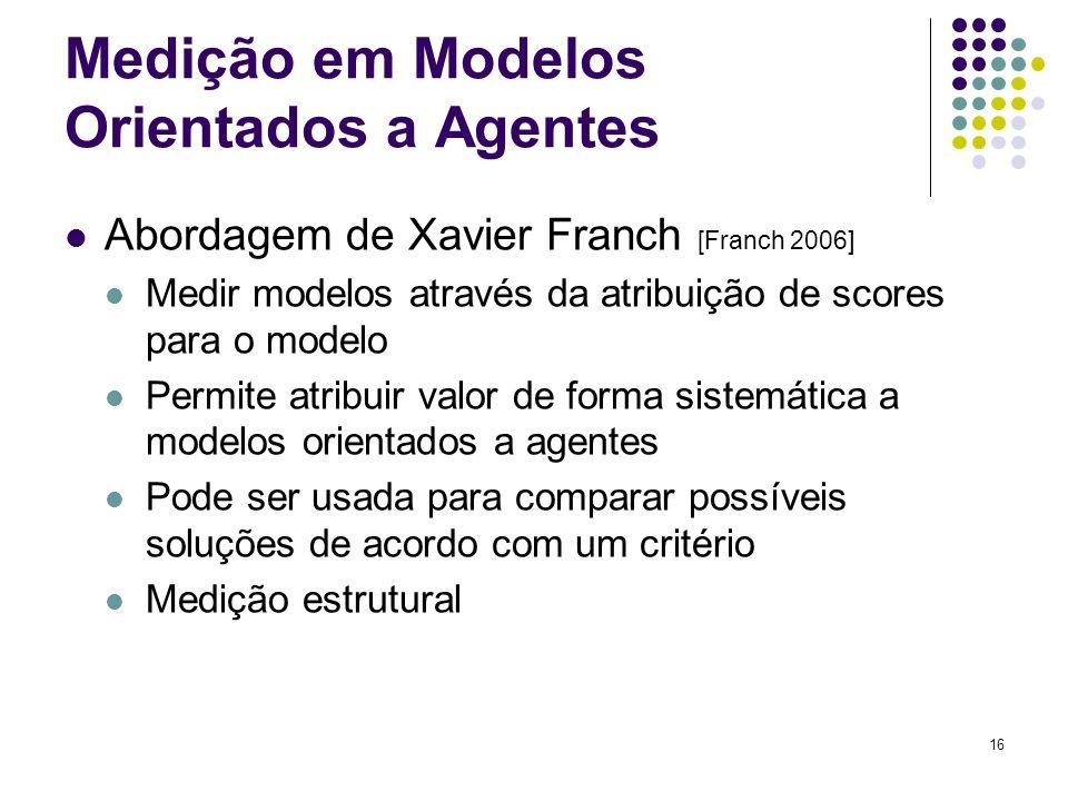 16 Medição em Modelos Orientados a Agentes Abordagem de Xavier Franch [Franch 2006] Medir modelos através da atribuição de scores para o modelo Permite atribuir valor de forma sistemática a modelos orientados a agentes Pode ser usada para comparar possíveis soluções de acordo com um critério Medição estrutural