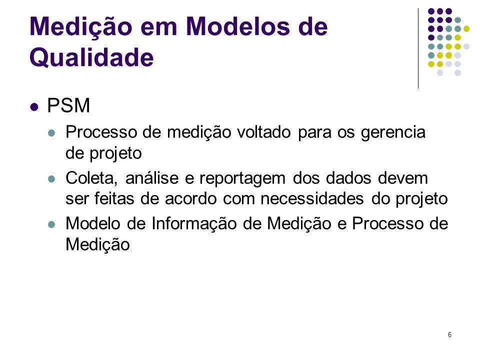 6 Medição em Modelos de Qualidade PSM Processo de medição voltado para os gerencia de projeto Coleta, análise e reportagem dos dados devem ser feitas de acordo com necessidades do projeto Modelo de Informação de Medição e Processo de Medição