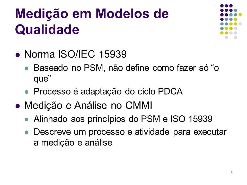 7 Medição em Modelos de Qualidade Norma ISO/IEC 15939 Baseado no PSM, não define como fazer só o que Processo é adaptação do ciclo PDCA Medição e Análise no CMMI Alinhado aos princípios do PSM e ISO 15939 Descreve um processo e atividade para executar a medição e análise