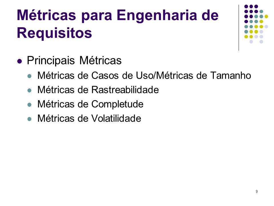 9 Métricas para Engenharia de Requisitos Principais Métricas Métricas de Casos de Uso/Métricas de Tamanho Métricas de Rastreabilidade Métricas de Completude Métricas de Volatilidade