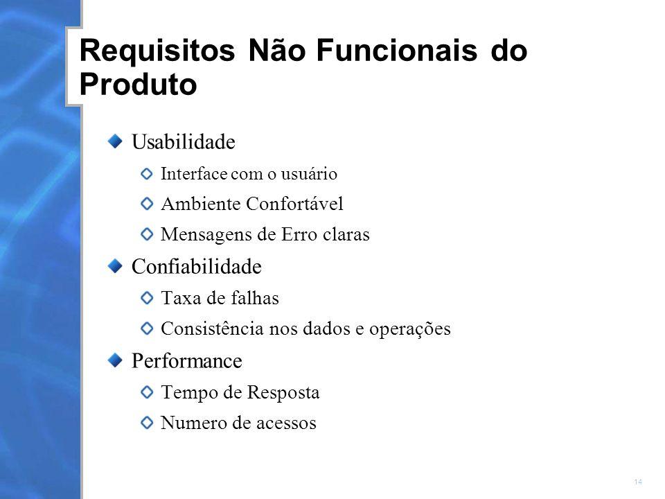 14 Requisitos Não Funcionais do Produto Usabilidade Interface com o usuário Ambiente Confortável Mensagens de Erro claras Confiabilidade Taxa de falhas Consistência nos dados e operações Performance Tempo de Resposta Numero de acessos