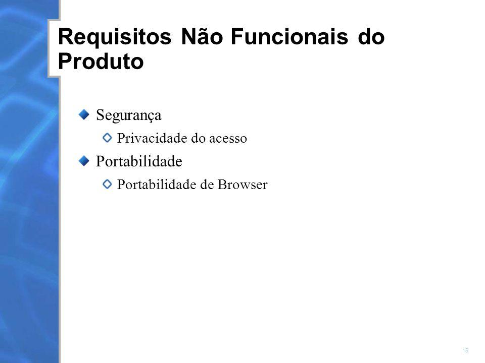 15 Requisitos Não Funcionais do Produto Segurança Privacidade do acesso Portabilidade Portabilidade de Browser