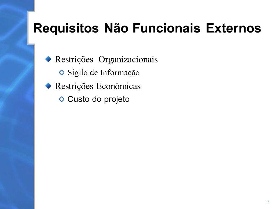16 Requisitos Não Funcionais Externos Restrições Organizacionais Sigilo de Informação Restrições Econômicas Custo do projeto