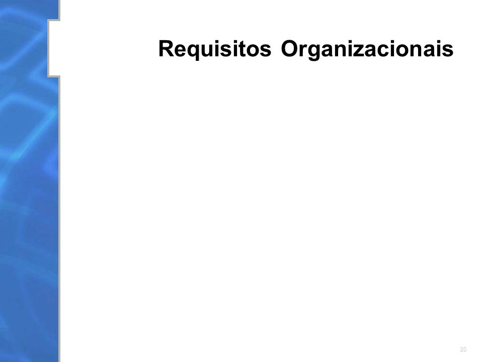 20 Requisitos Organizacionais