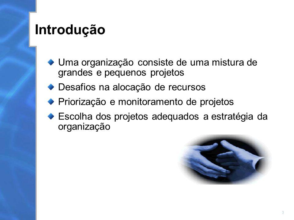 3 Introdução Uma organização consiste de uma mistura de grandes e pequenos projetos Desafios na alocação de recursos Priorização e monitoramento de projetos Escolha dos projetos adequados a estratégia da organização