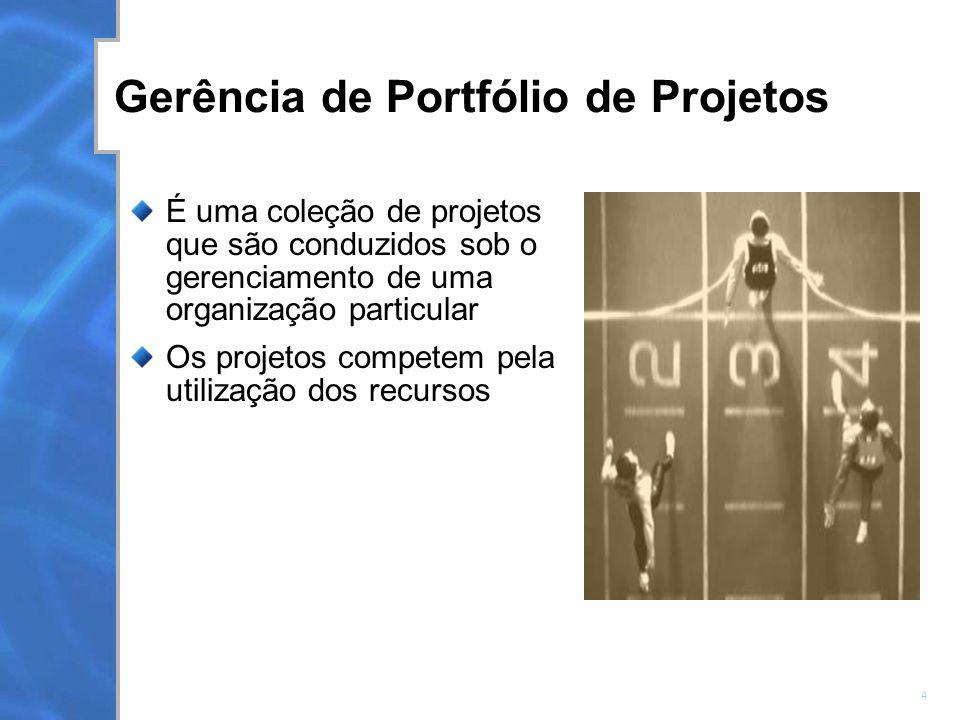 4 Gerência de Portfólio de Projetos É uma coleção de projetos que são conduzidos sob o gerenciamento de uma organização particular Os projetos competem pela utilização dos recursos