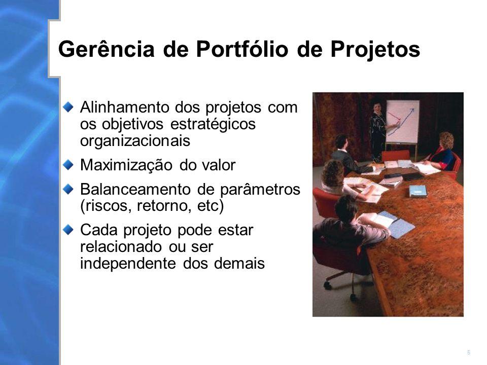 5 Gerência de Portfólio de Projetos Alinhamento dos projetos com os objetivos estratégicos organizacionais Maximização do valor Balanceamento de parâmetros (riscos, retorno, etc) Cada projeto pode estar relacionado ou ser independente dos demais