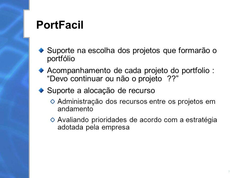 7 PortFacil Suporte na escolha dos projetos que formarão o portfólio Acompanhamento de cada projeto do portfolio : Devo continuar ou não o projeto ?.