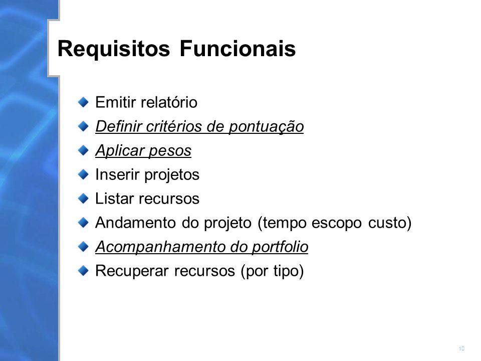 10 Requisitos Funcionais Emitir relatório Definir critérios de pontuação Aplicar pesos Inserir projetos Listar recursos Andamento do projeto (tempo es