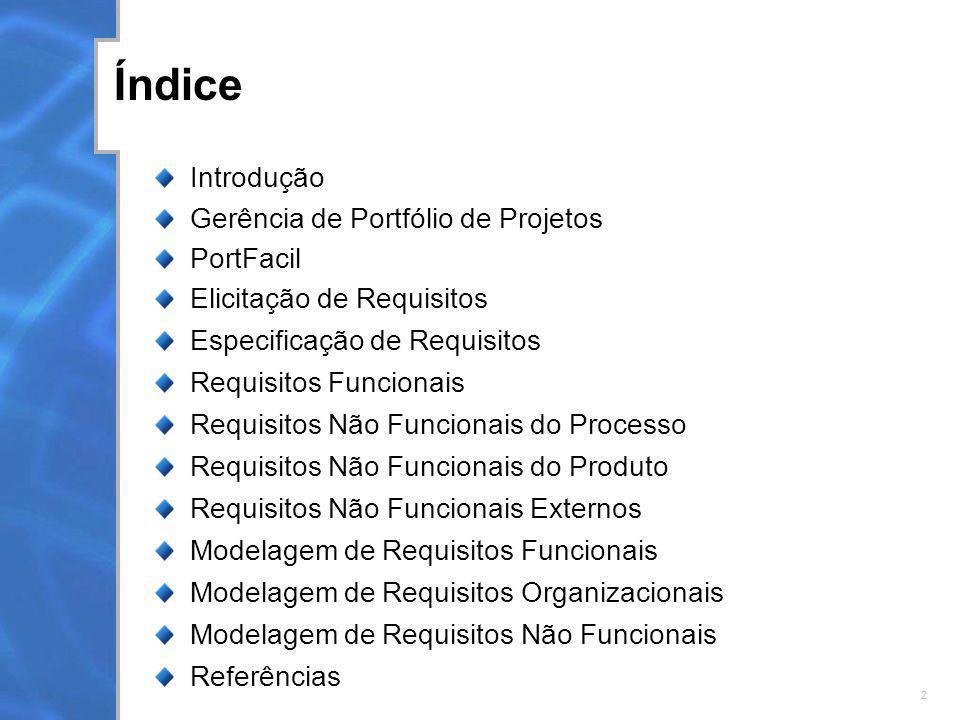 2 Índice Introdução Gerência de Portfólio de Projetos PortFacil Elicitação de Requisitos Especificação de Requisitos Requisitos Funcionais Requisitos
