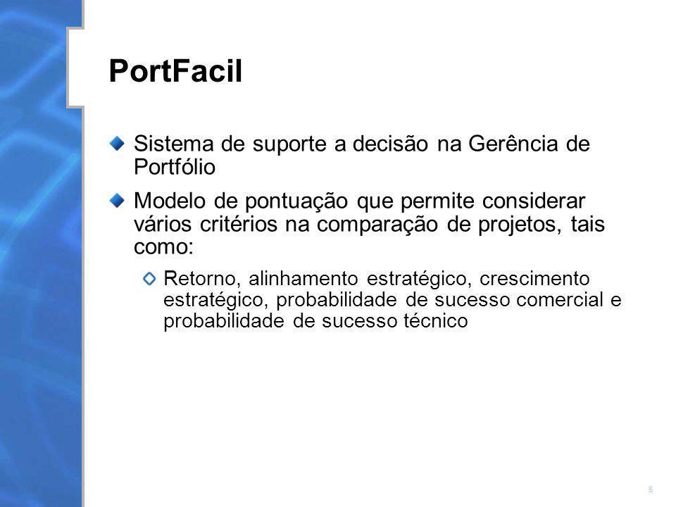 6 PortFacil Suporte na escolha dos projetos que formarão o portfólio Acompanhamento de cada projeto do portfolio : Devo continuar ou não o projeto ?.
