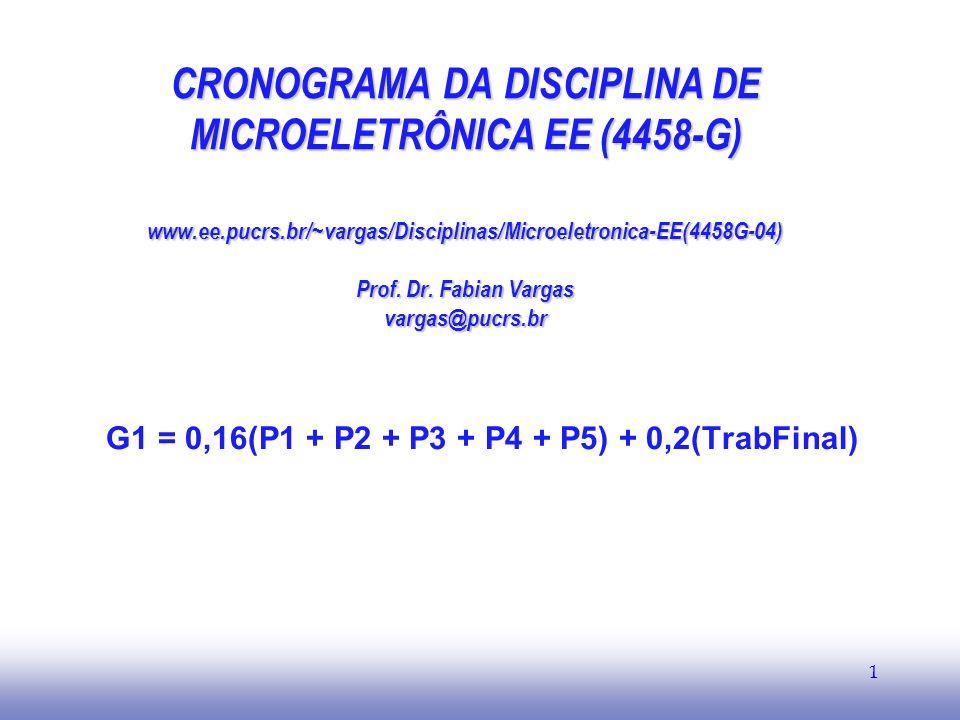 EE141 1 CRONOGRAMA DA DISCIPLINA DE MICROELETRÔNICA EE (4458-G) www.ee.pucrs.br/~vargas/Disciplinas/Microeletronica-EE(4458G-04) Prof. Dr. Fabian Varg