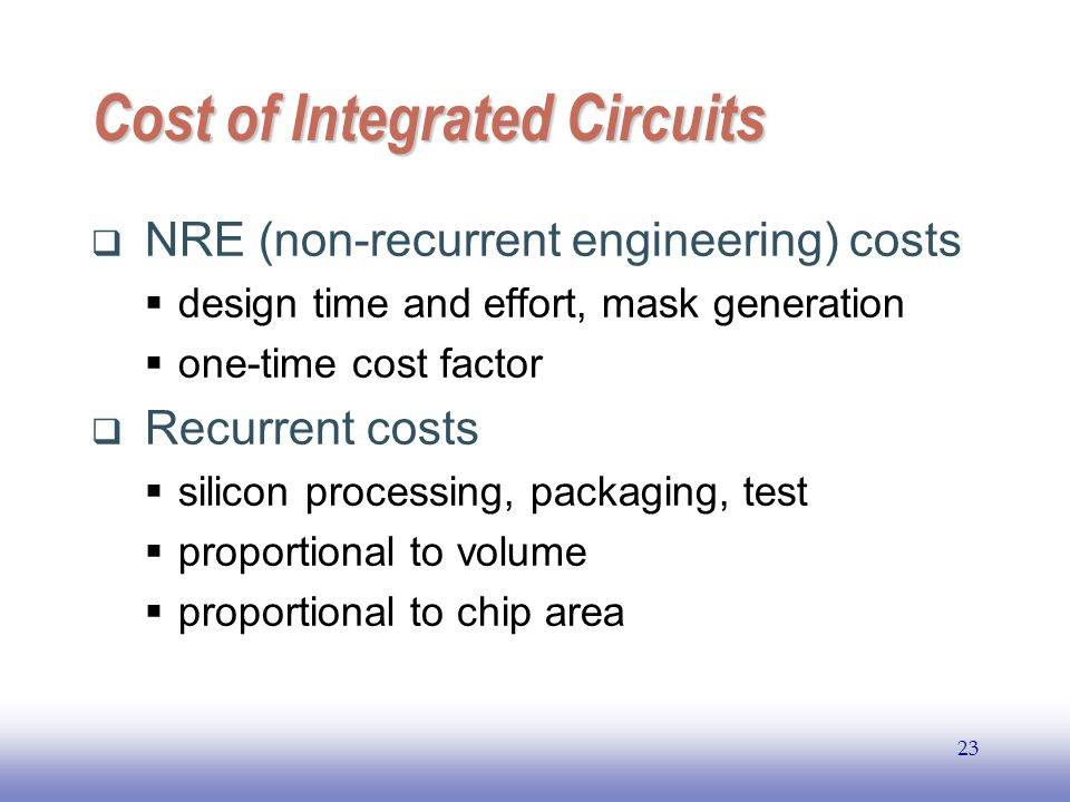 EE141 23 Cost of Integrated Circuits NRE (non-recurrent engineering) costs design time and effort, mask generation one-time cost factor Recurrent cost
