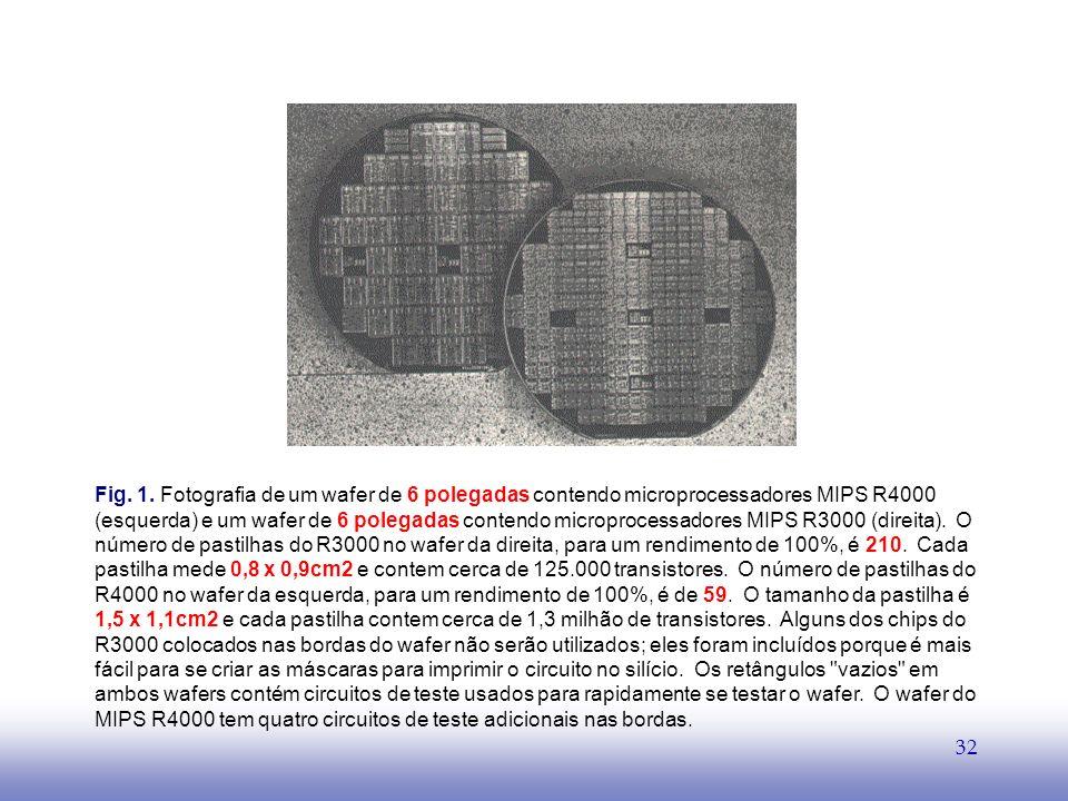 EE141 32 Fig. 1. Fotografia de um wafer de 6 polegadas contendo microprocessadores MIPS R4000 (esquerda) e um wafer de 6 polegadas contendo microproce