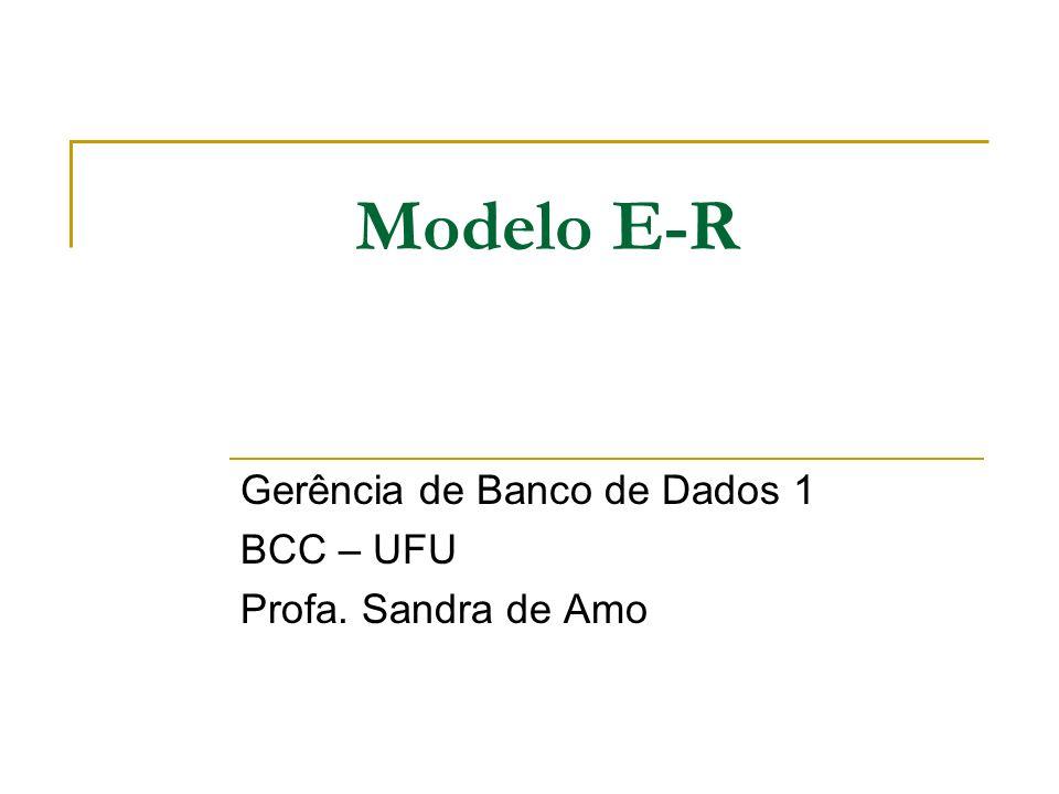 Modelo E-R Gerência de Banco de Dados 1 BCC – UFU Profa. Sandra de Amo