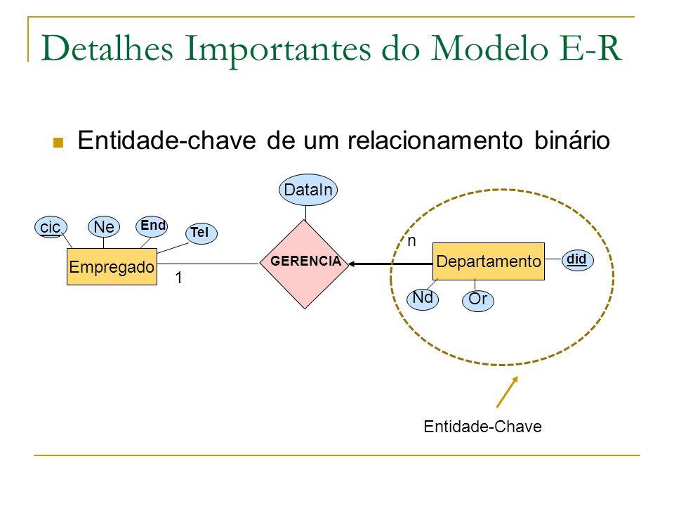 Detalhes Importantes do Modelo E-R Entidade-chave de um relacionamento binário Empregado Departamento cic Ne End Tel Nd Or did GERENCIA DataIn n 1 Ent