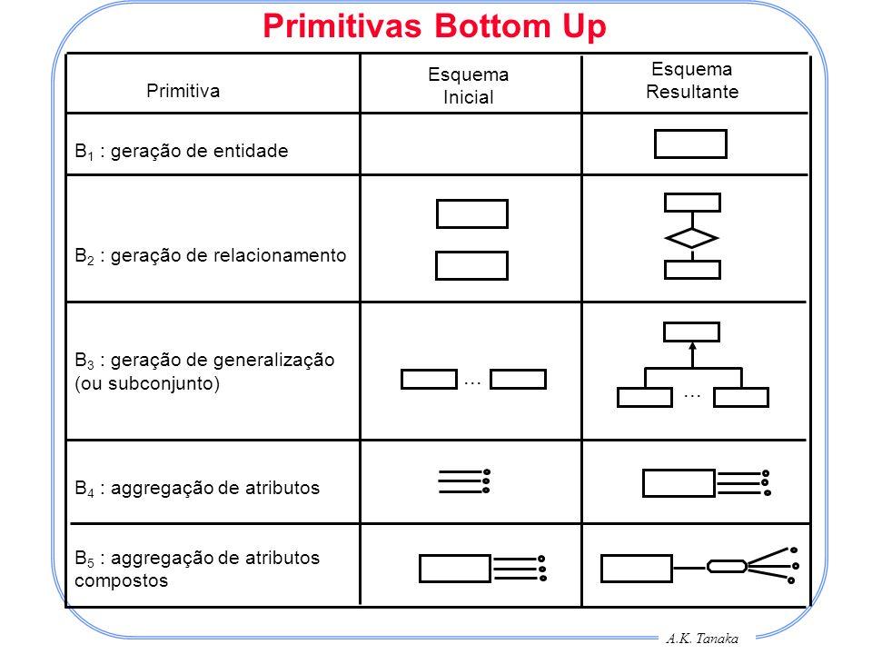 A.K. Tanaka Primitivas Bottom Up Primitiva Esquema Inicial Esquema Resultante B 1 : geração de entidade B 2 : geração de relacionamento B 3 : geração