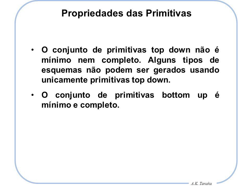 A.K. Tanaka Propriedades das Primitivas O conjunto de primitivas top down não é mínimo nem completo. Alguns tipos de esquemas não podem ser gerados us