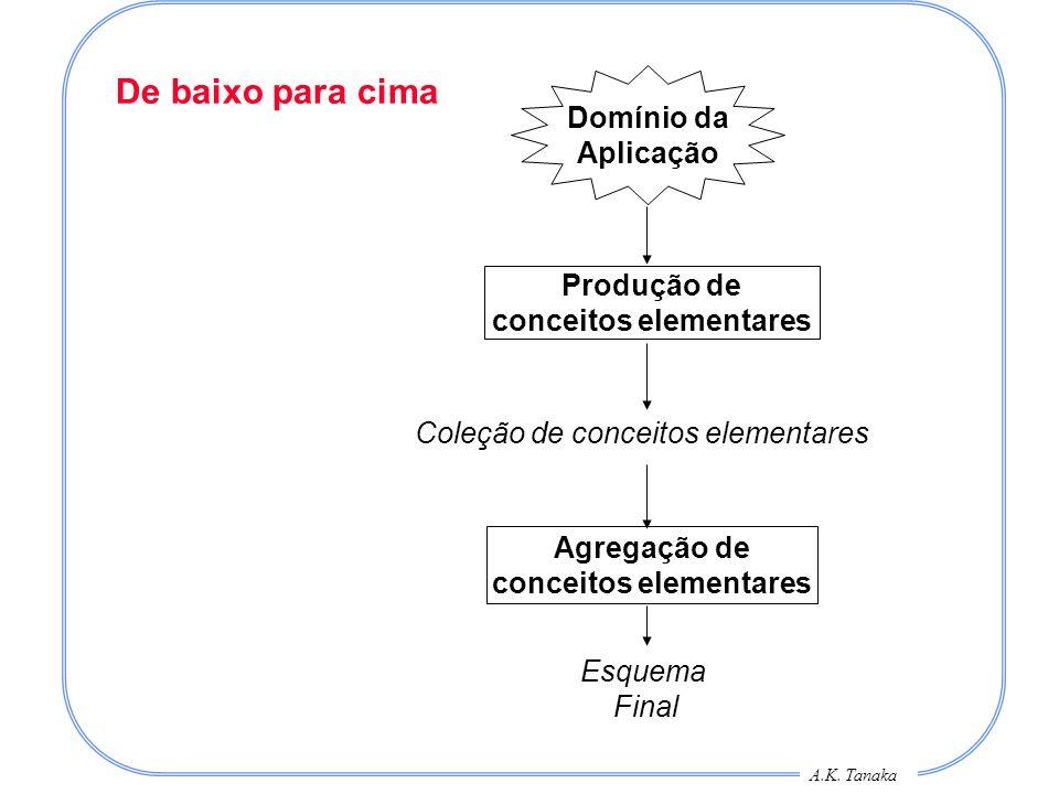 A.K. Tanaka De baixo para cima Produção de conceitos elementares Domínio da Aplicação Agregação de conceitos elementares Esquema Final Coleção de conc