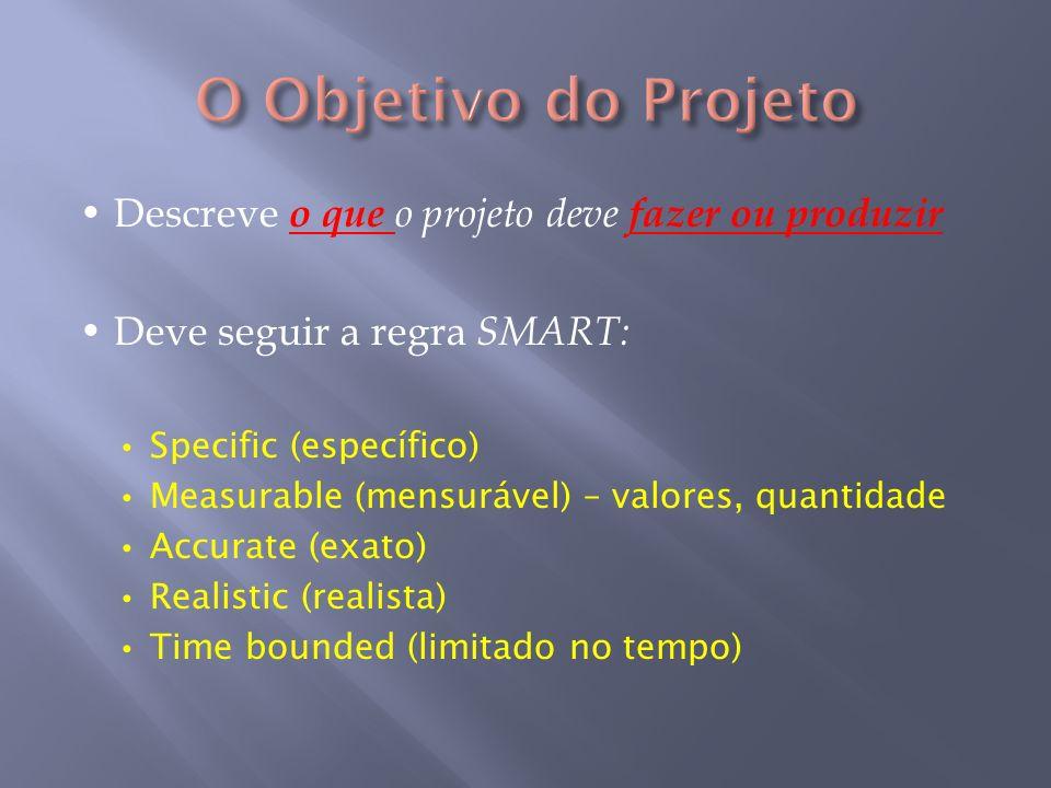 Descreve o que o projeto deve fazer ou produzir Deve seguir a regra SMART: Specific (específico) Measurable (mensurável) – valores, quantidade Accurat