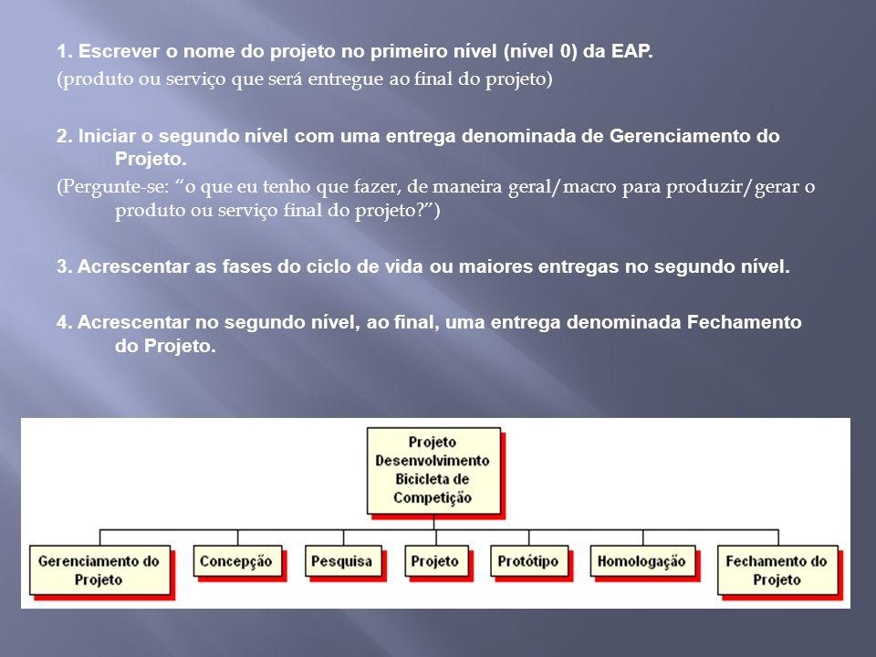 1. Escrever o nome do projeto no primeiro nível (nível 0) da EAP. (produto ou serviço que será entregue ao final do projeto) 2. Iniciar o segundo níve