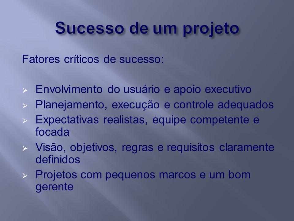 Fatores críticos de sucesso: Envolvimento do usuário e apoio executivo Planejamento, execução e controle adequados Expectativas realistas, equipe comp