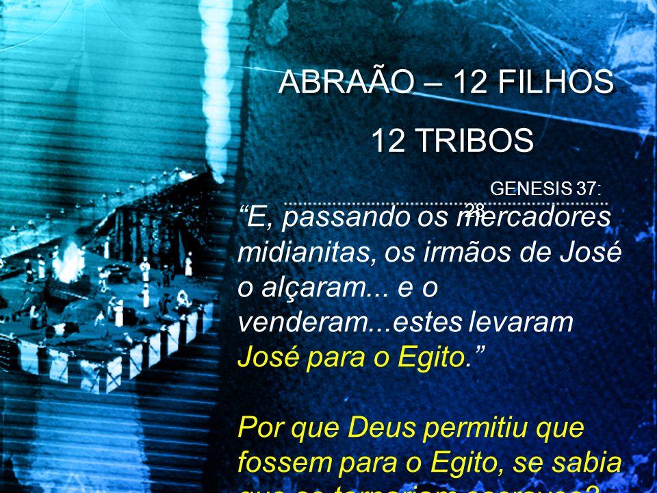 ABRAÃO – 12 FILHOS 12 TRIBOS ABRAÃO – 12 FILHOS 12 TRIBOS E, passando os mercadores midianitas, os irmãos de José o alçaram... e o venderam...estes le