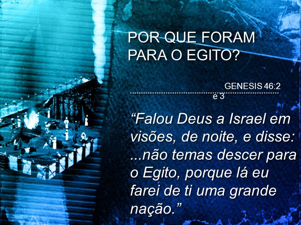 POR QUE FORAM PARA O EGITO? Falou Deus a Israel em visões, de noite, e disse:...não temas descer para o Egito, porque lá eu farei de ti uma grande naç