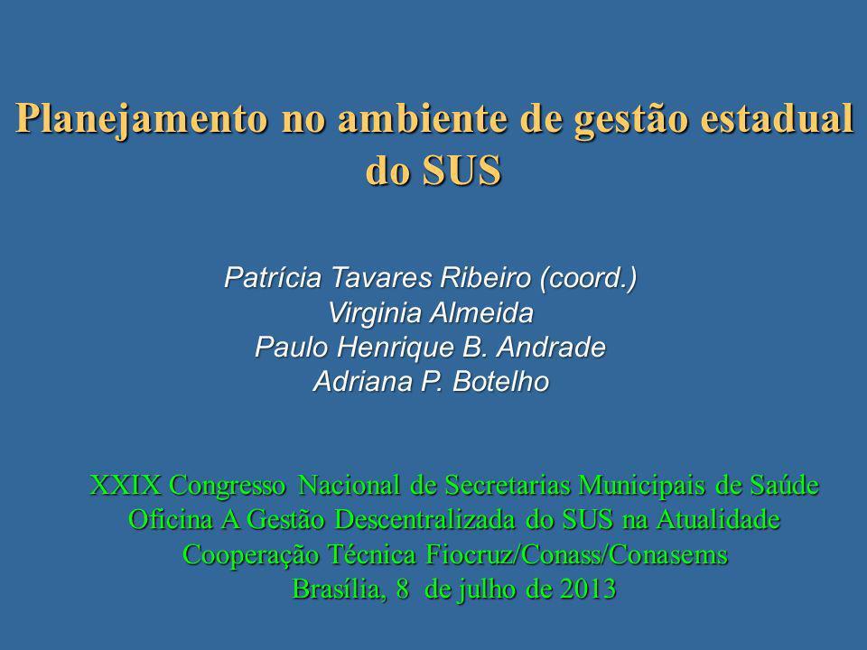 Planejamento no ambiente de gestão estadual do SUS Patrícia Tavares Ribeiro (coord.) Virginia Almeida Paulo Henrique B. Andrade Adriana P. Botelho XXI