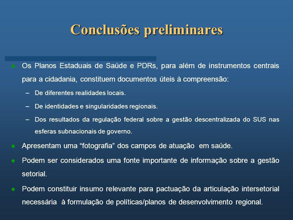 Conclusões preliminares Os Planos Estaduais de Saúde e PDRs, para além de instrumentos centrais para a cidadania, constituem documentos úteis à compre