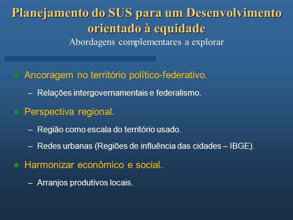 Planejamento do SUS para um Desenvolvimento orientado à equidade Planejamento do SUS para um Desenvolvimento orientado à equidade Abordagens complemen