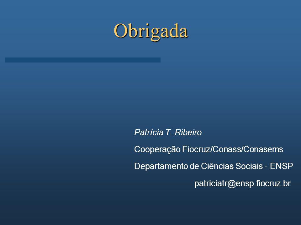 Obrigada Patrícia T. Ribeiro Cooperação Fiocruz/Conass/Conasems Departamento de Ciências Sociais - ENSP patriciatr@ensp.fiocruz.br