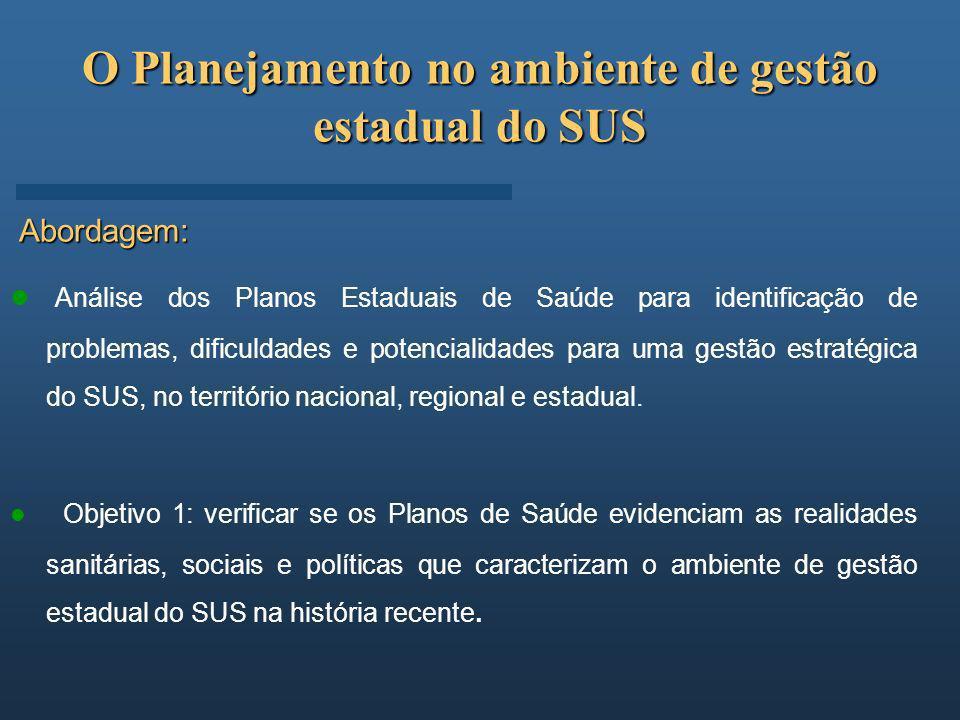 O Planejamento no ambiente de gestão estadual do SUS Abordagem: Análise dos Planos Estaduais de Saúde para identificação de problemas, dificuldades e