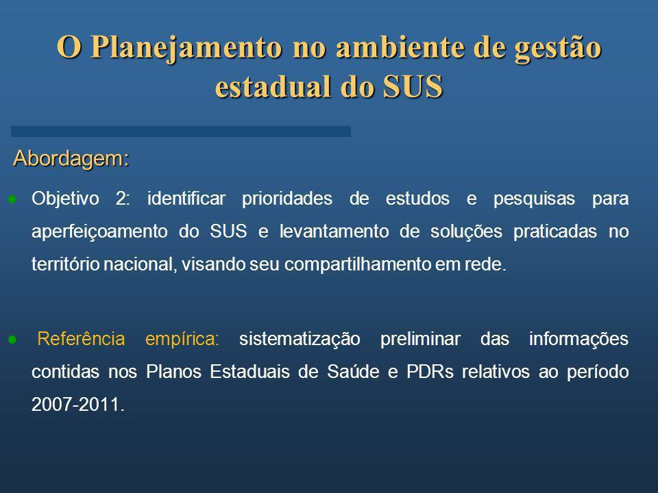 O Planejamento no ambiente de gestão estadual do SUS Abordagem: Objetivo 2: identificar prioridades de estudos e pesquisas para aperfeiçoamento do SUS
