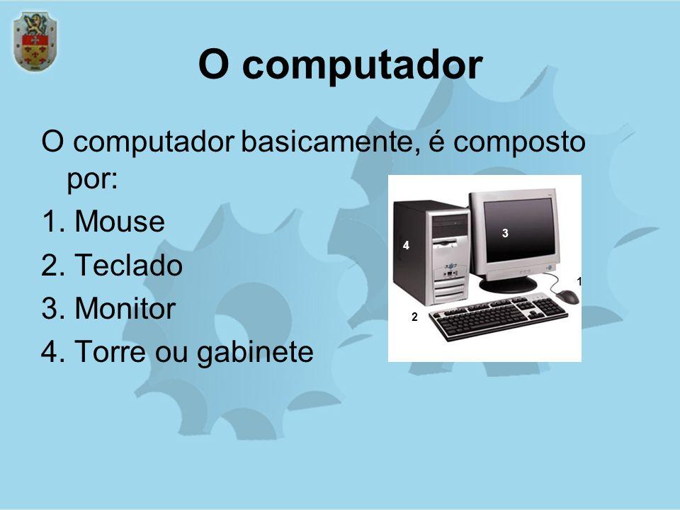 O computador O computador basicamente, é composto por: 1. Mouse 2. Teclado 3. Monitor 4. Torre ou gabinete 4 1 2 3